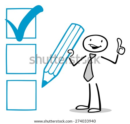 Successful business man checking checkbox and holding his thumbs up - stock photo
