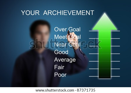 successful business man drawing over goal achievement arrow