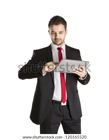 Successful business man is standing on isolated white background - stock photo