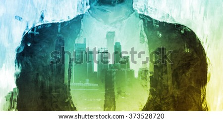 Successful Business Man Standing in Front of the City - stock photo