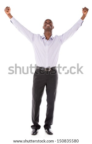Successful business man with arms up - isolated over white backround  - stock photo