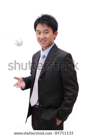 successful business man with baseball - stock photo