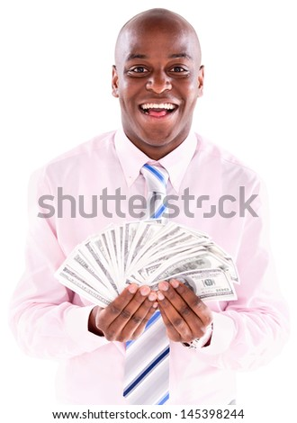Successful business man with money in his hands - isolated over white  - stock photo