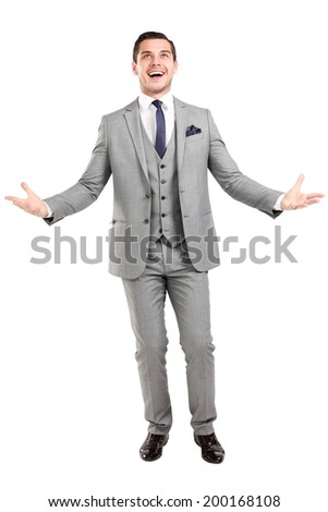 Successful business man with open arms - isolated over a white background - stock photo