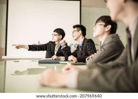 Successful business meeting with a group of people at the office.Asian - stock photo