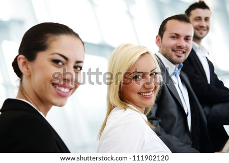 Successful business people in row - stock photo