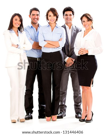 Successful business people looking happy - isolated over white
