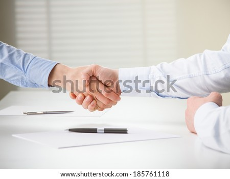 Successful business people shaking hands while making agreement - stock photo