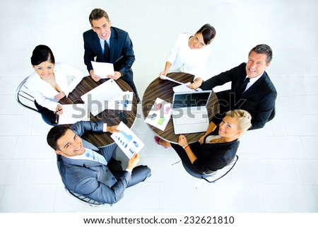 Successful business team at the office. top view - stock photo