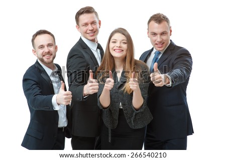 Successful business team. Group of confident business people showing thumbs up standing close to each other and smiling. Isolated on white. - stock photo