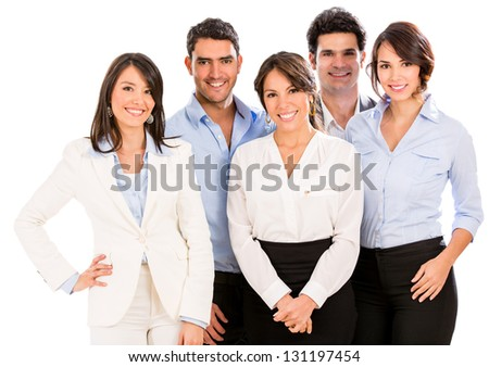 Successful business team smiling - isolated over a white background - stock photo