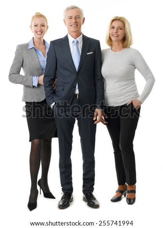 Successful business team standing against white background.  - stock photo
