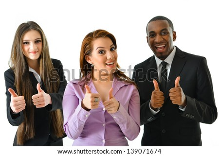 Successful Business Team Two Thumbs Up - stock photo