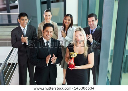 successful business team winning an award - stock photo