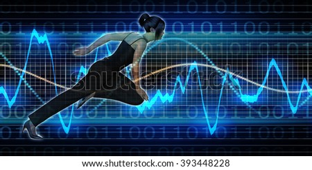 Successful Business with Asian Woman and Graph Background