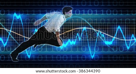 Successful Business with Caucasian Man and Graph Background