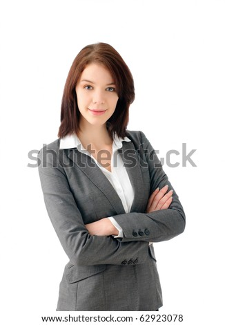 Successful business woman folding arms - stock photo