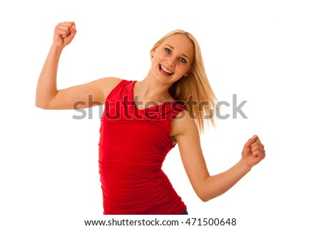 Successful business woman gestures success with hands rised in the air isolated over white background