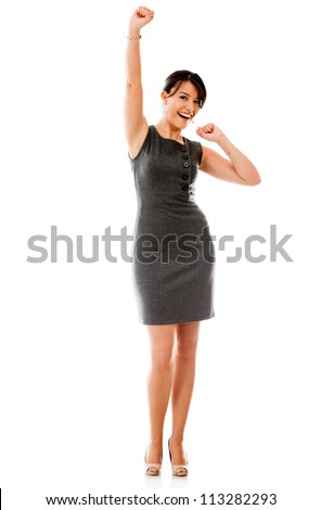 Successful business woman looking excited - isolated over a white background