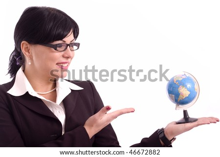 Successful business woman presenting an  earth model isolated on white background