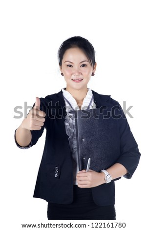Successful business woman showing thumbs up sign, holding black file, isolated white background. - stock photo