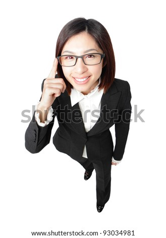 Successful business woman touch eye eyeglasses with smile , full length portrait view from high angle isolated on white background. - stock photo