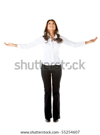 Successful business woman with arms opened - isolated on white - stock photo
