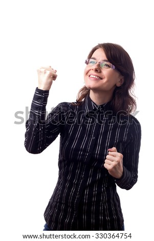 Successful business woman with arms up celebrating. Isolated on white background. - stock photo