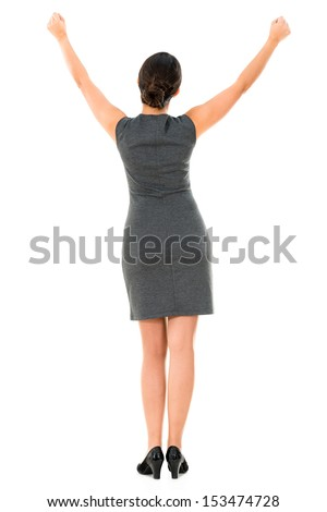 Successful business woman with arms up - isolated over white - stock photo