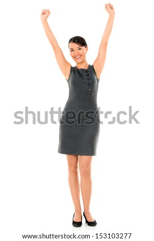 Successful business woman with arms up - isolated over white background
