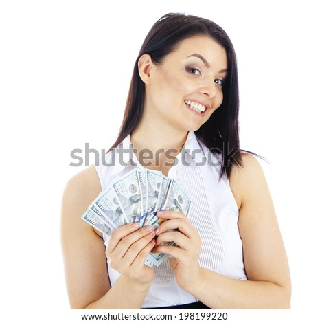 successful  business woman with cash in hand. Isolated on white background