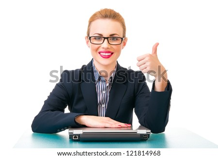 Successful business woman with sign ok, isolated on white - stock photo