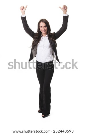 Successful business woman with thumb up- isolated over white