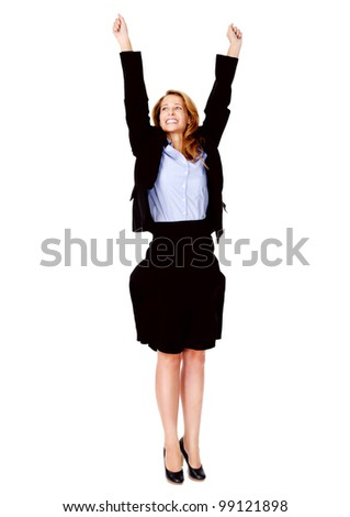 successful business women celebrating with cheer and happy expression. isolated on white - stock photo