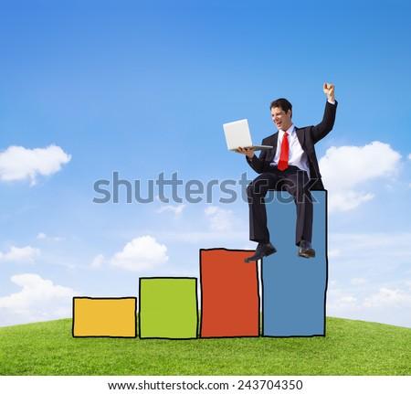Successful Businessman Achievement Financial Improvement Success Concept - stock photo