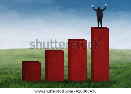 Successful businessman celebrate his success while standing on a financial diagram at field - stock photo