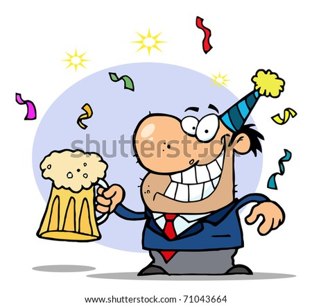 Successful Businessman Celebrating At A Party With Beer - stock photo