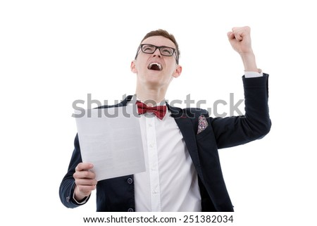 Successful businessman celebrating with arms up - isolated over a white background - stock photo