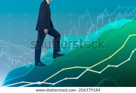 Successful businessman climbs up to the top of growing forex graph.  - stock photo