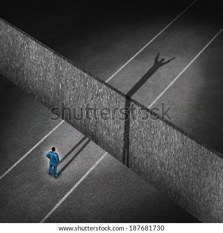 Successful businessman concept as a man on a road that has a deep cliff and the persons shadow crosses the obstacle making the impossible possible as a business metaphor for determination. - stock photo