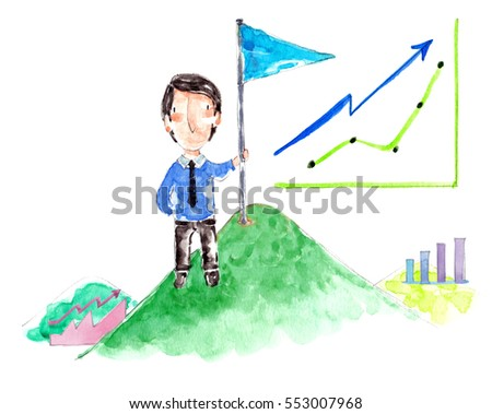 Successful businessman holding flag on top of mountain. Watercolor style. Business concept.