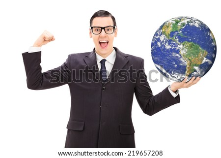 Successful businessman holding the world in his own hand isolated on white background, Earth image in public Domain and furnished by NASA - stock photo