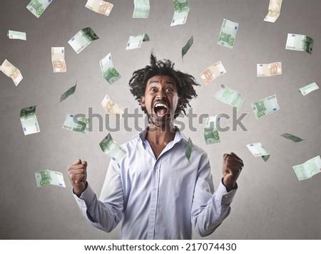 Successful businessman jubilating  - stock photo