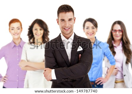 Successful businessman leading a group