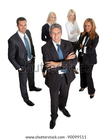 Successful businessman leading his team on white background
