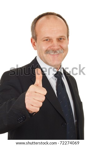 Successful businessman pointing finger optimistic-isolated on white