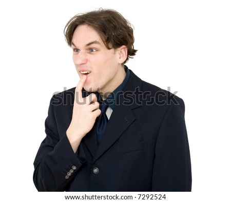 successful businessman posing, studio isolated
