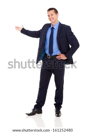 successful businessman presenting isolated on white - stock photo