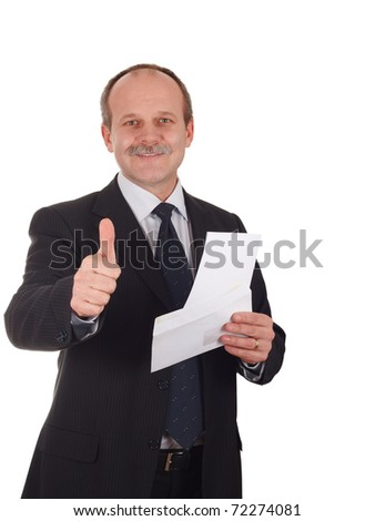 Successful businessman smiling happy-isolated on white