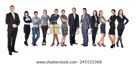 Successful businessman standing with his staff in background isolated on white